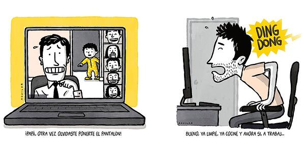 ilustraciones de hombres siendo interrumpidos durante el trabajo desde casa por un niño y por el timbre-1